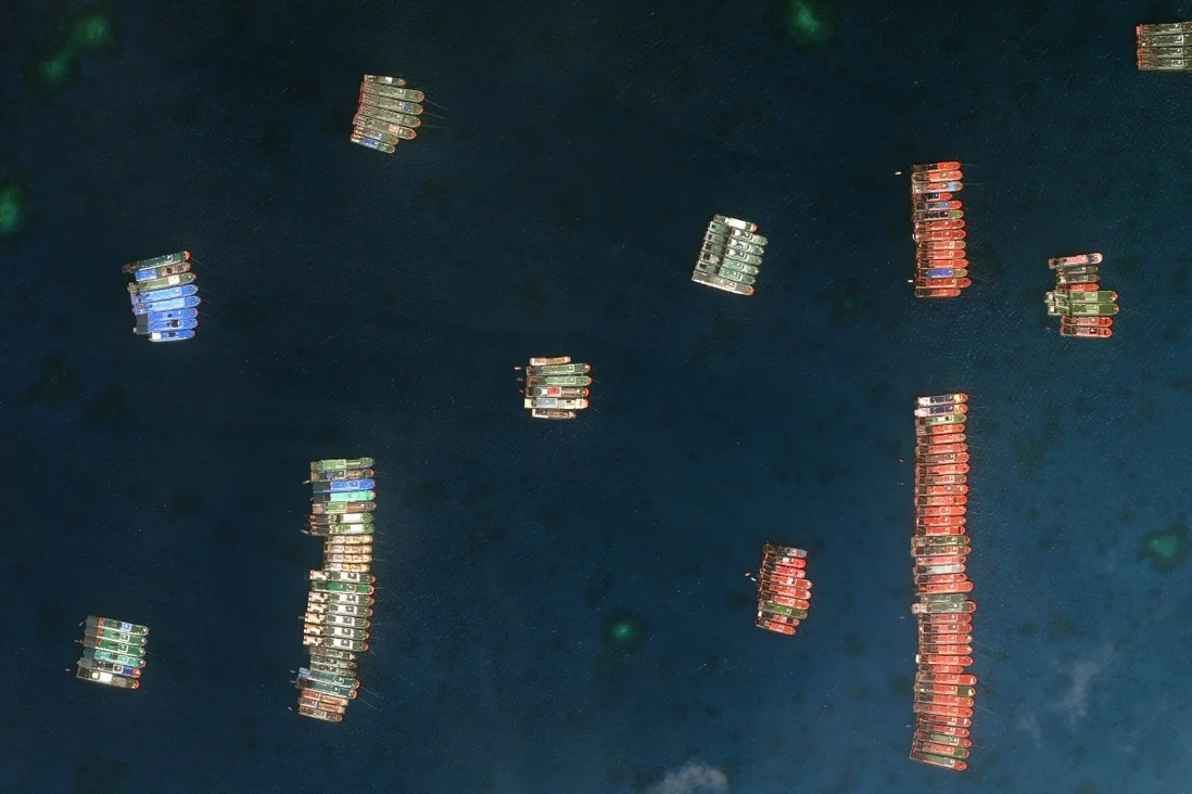 Chinese vessels at the Whitsun Reef. Photo: Maxar Technologies via AP