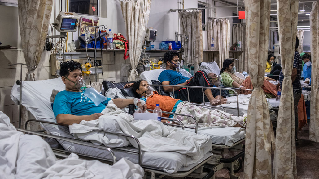 In the emergency ward of a hospital in New Delhi on May 3, patients relied on oxygen as they battled COVID-19. India's health care system can't keep up with the soaring case counts as the second wave of the coronavirus pandemic rages through the country.  REBECCA CONWAY/GETTY IMAGES