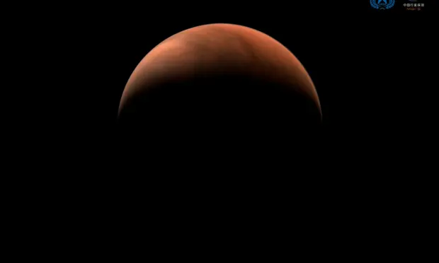 An image of Mars taken by China's Tianwen-1 unmanned probe in March. Photograph: CNSA/Reuters