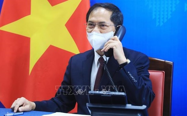 Minister of Foreign Affairs Bui Thanh Son holds phone talks with US Secretary of State Antony Blinken on May 28 (Photo: VNA)