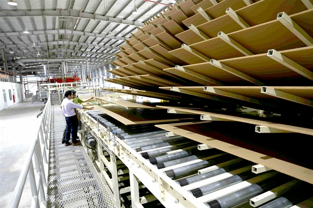 A medium density fibreboard (MDF) production line of Thanh Thành Đạt MDF Joint Stock Company in the central province of Hà Tĩnh. The country exported $9.69 billion worth of agricultural and forestry products in the first five months of 2021, up 13.5 per cent. — VNA/VNS Photo Vũ Sinh
