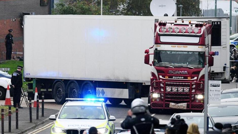 The lorry is taken away after the discovery of 39 bodies in October 2019. Getty
