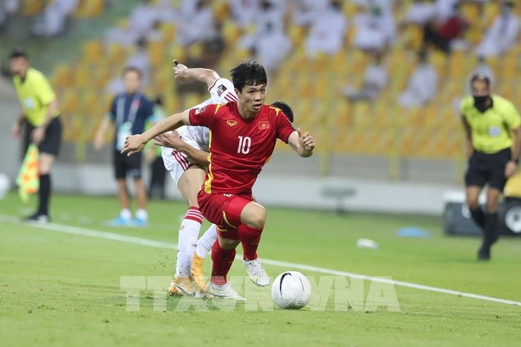 Forward Cong Phuong in Vietnam-UAE match at the 2022 FIFA World Cup's qualifying round. Photo: VNA