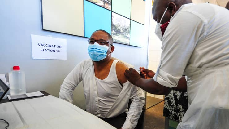 A person being vaccinated at the launch of the province-wide roadshows to drum up public support for vaccination against COVID 19 at Moses Mabhida People's Park on June 08, 2021 in Durban, South Africa. Darren Stewart | Gallo Images | Getty Images