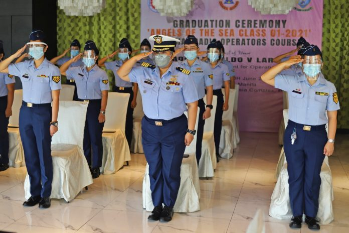 For the first time ever, an all-female class of radio operators aboard various Philippine Coast Guard (PCG) vessels and shorebased units graduated from a Special Radio Operators Course in Pasay City on Friday (June 25). Photo courtesy of Philippine Coast Guard.
