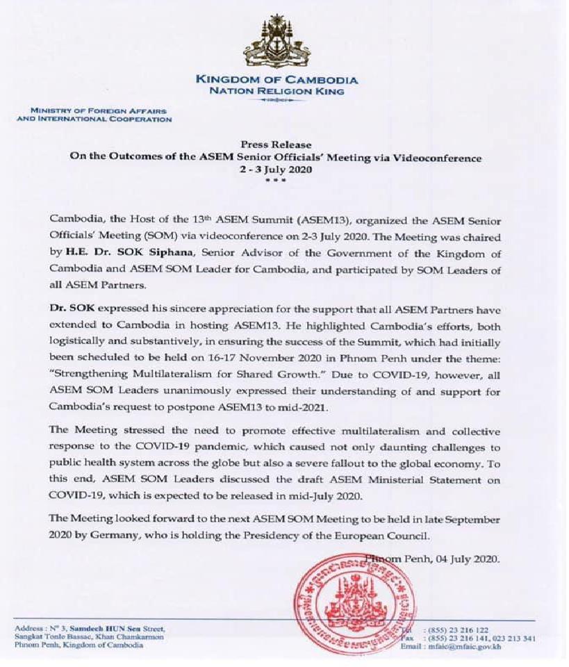 cambodia postpones asem 13 to mid 2021