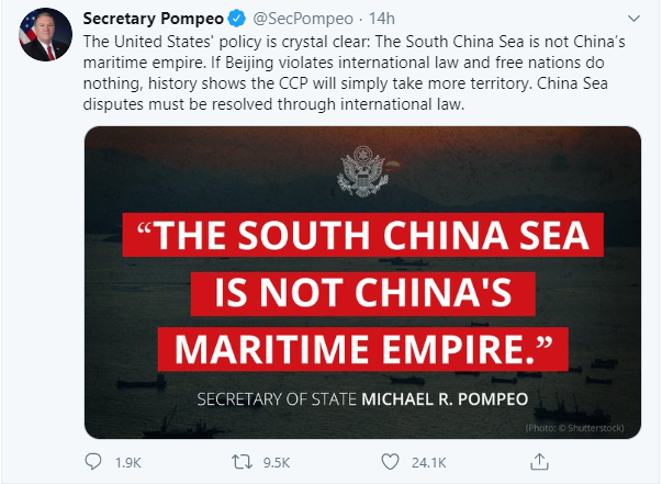 mike pompeo the south china sea is not chinas maritime empire