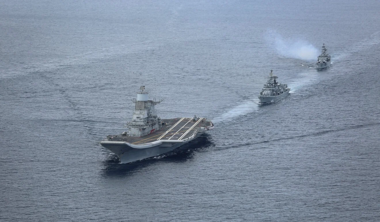 India's first aircraft carrier, INS Vikramaditya, in the Arabian Sea. Photo: AFP