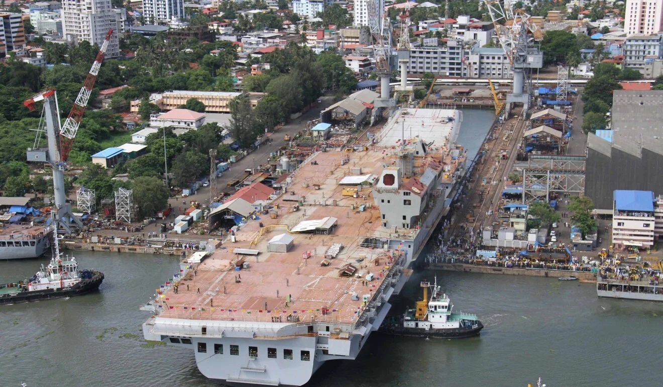 Work on INS Vikrant is carried out at Cochin Shipyard Limited at Kochi, India, during its construction. Photo: EPA