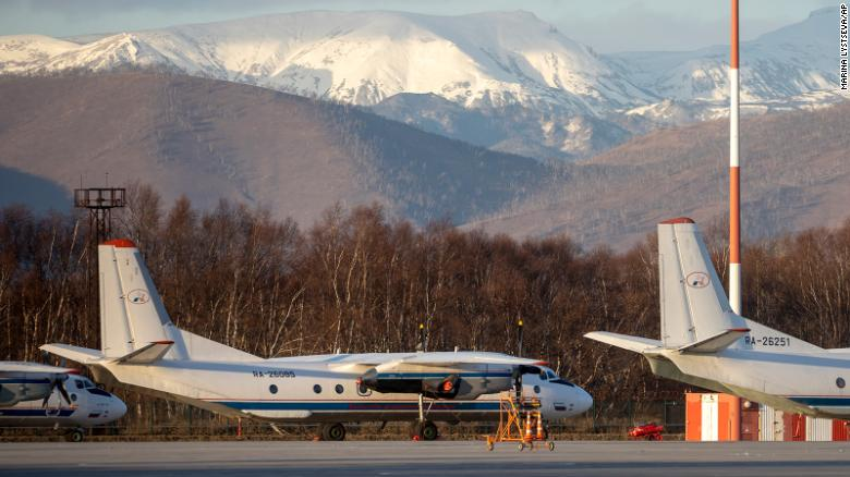 A file photo of an Antonov An-26 twin-engined turboprop, with the same RA-26085 tail number as the missing plane, at an airport outside Petropavlovsk-Kamchatsky, Russia, in November 2020.