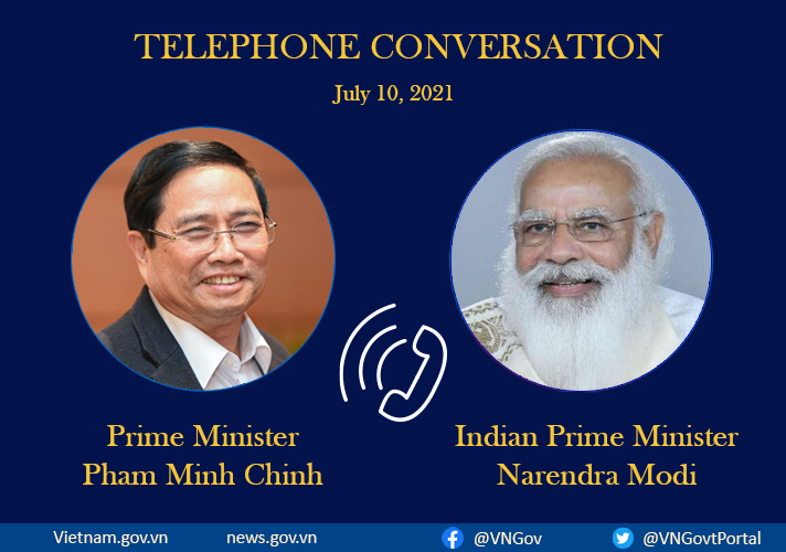 Prime Minister Pham Minh Chinh engaged in a phone talk with his Indian counterpart Narendra Modi on July 10,