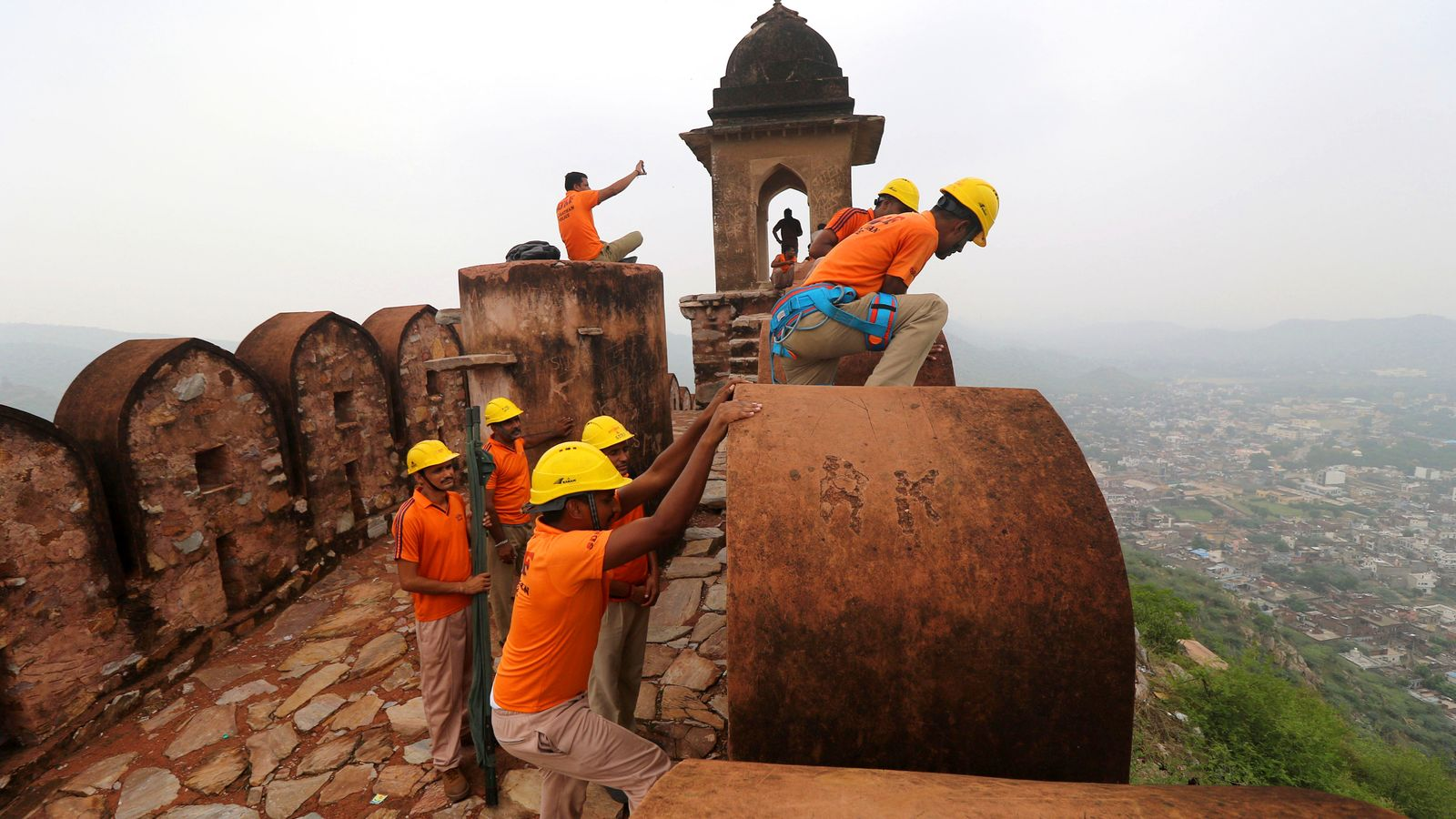 Rescue teams search the Amber Fort after several people died following a lightning strike. Pic: AP