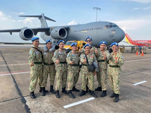 L2FH Rotation 3's personnel, including members of the Logistics Unit, at a send-off ceremony before heading to South Sudan