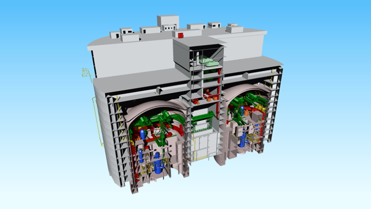 A cutaway of a plant based on two ACP100 reactors (Image: CNNC)