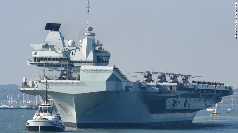 HMS Queen Elizabeth departs from a naval base in Portsmouth, England, in September 2020. Photo: CNN