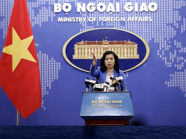 Spokesperson for the Việt Nam Ministry of Foreign Affairs Lê Thị Thu Hằng at Thursday's press briefing in Hà Nội. — VNA/VNS Photo Dương Giang