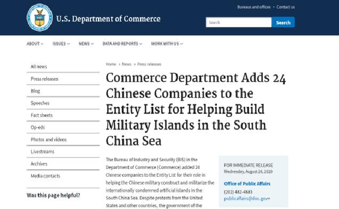 US adds Chinese companies to Entity List for helping build military islands in South China Sea (Bien Dong Sea)