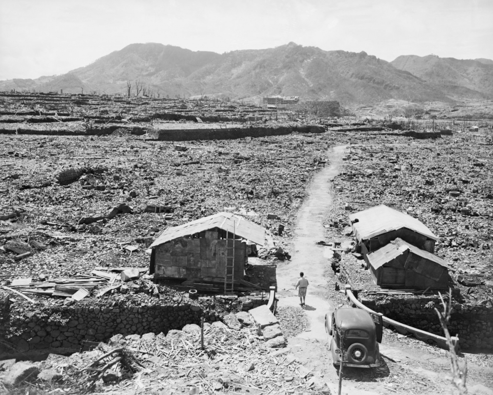 Photo: An area in Hiroshima flattened by atomic bombs. Photo: History
