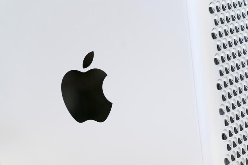 This May 21, 2021 photo shows the Apple logo displayed on a Mac Pro desktop computer in New York. Apple is planning to scan U.S. iPhones for images of child abuse, drawing applause from child protection groups but raising concern among security researchers that the system could be misused by governments looking to surveil their citizens.(AP Photo/Mark Lennihan)