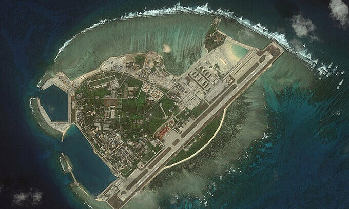 Satellite image of the Woody Island, part of Vietnam's Paracel Islands. Photo courtesy of the Center for Strategic and International Studies.