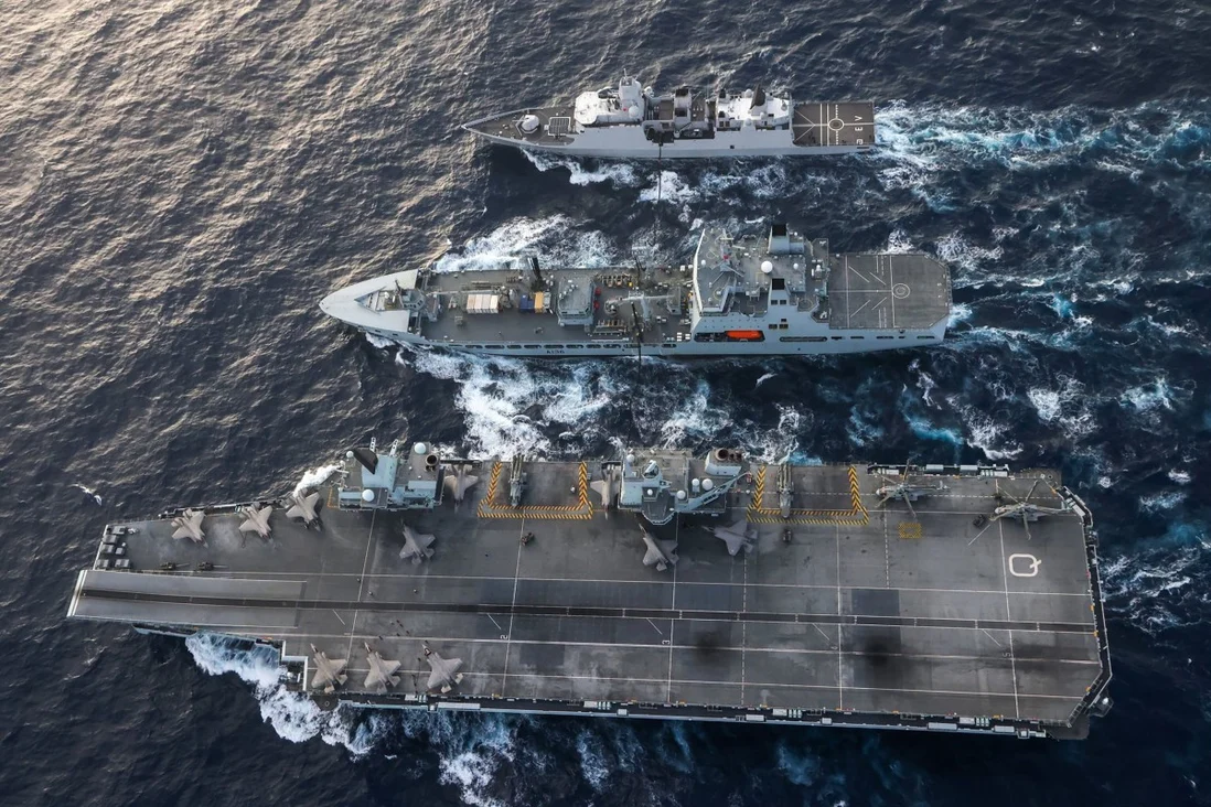 A US Navy photo shows American, British and Dutch warships conducting operations in the South China Sea on July 29. Photo: Twitter