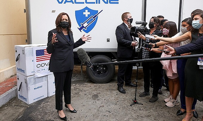 U.S. Vice President Kamala Harris speaks with the media as she visits the National Institute of Hygiene and Epidemiology where nearly 270,000 doses of Pfizer vaccine arrived earlier in the morning, in Hanoi, Vietnam, August 26, 2021. Photo by Reuters/Evelyn Hockstein