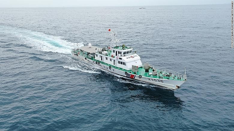 A Chinese Coast Guard taskforce advances at full speed in Zhanjiang, Guangdong Province in China on August 13.