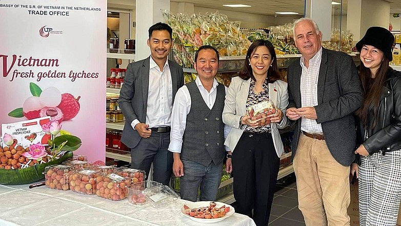 Fresh lychees from Vietnam hit the shelves of a supermarket in the Netherlands.