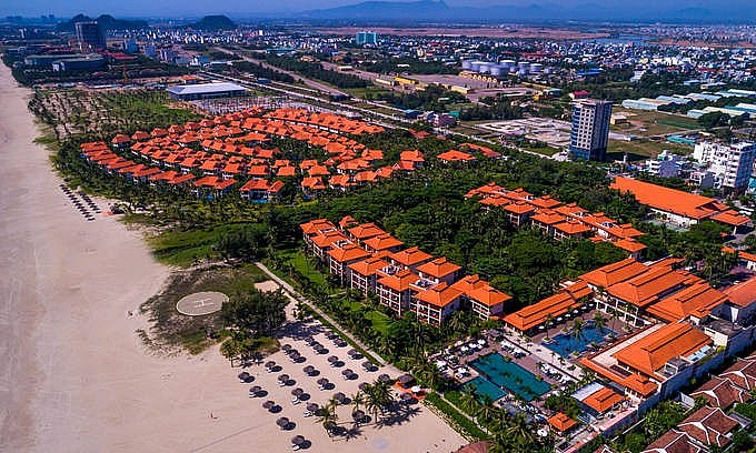 The five-star Furama Resort Danang is seen from above. Photo courtesy of the resort