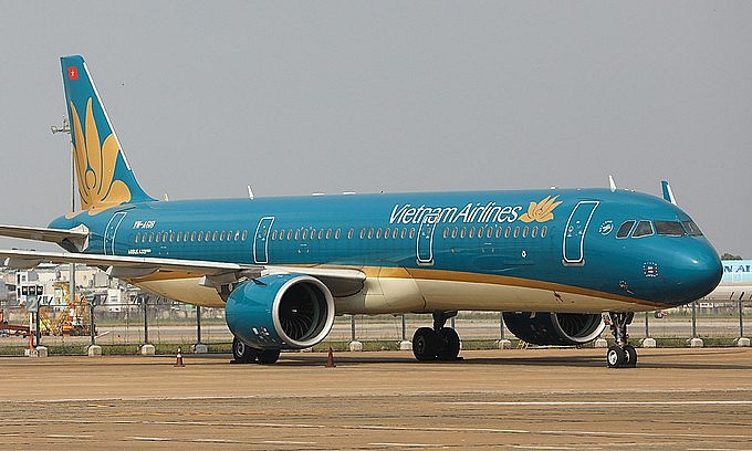 A Vietnam Airlines plane at HCMC's Tan Son Nhat Airport. Photo by VnExpress