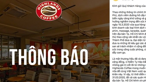 Vietnamese coffee chains stop serving at stores due to COVID-19