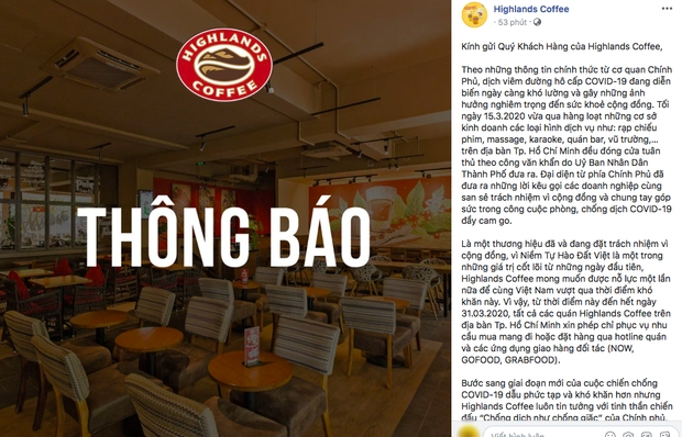 vietnamese coffee chains stop serving at stores due to covid 19