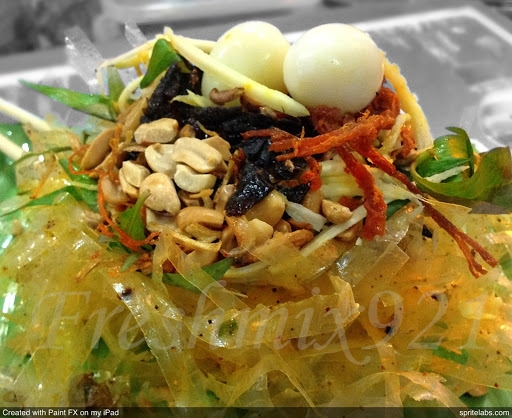 rice paper salad a popular and attractive street food in vietnam