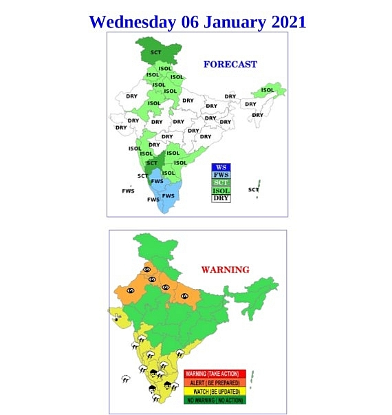 India weather forecast latest, January 6: Widespread rain accompanied with thunderstorm and lightning over northwest areas
