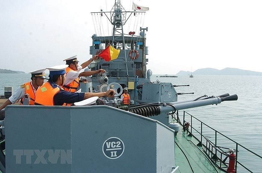 Vietnamese naval troops trained hard on land to cope with dangers at sea