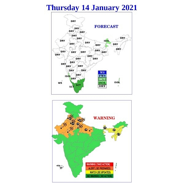 India weather forecast latest, January 14: Rain cover south India while western states to bear dry and windy conditions