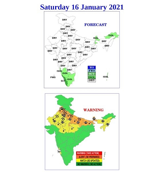India weather forecast latest, january 16: north india braces for cold air while parts of south experience wet weather