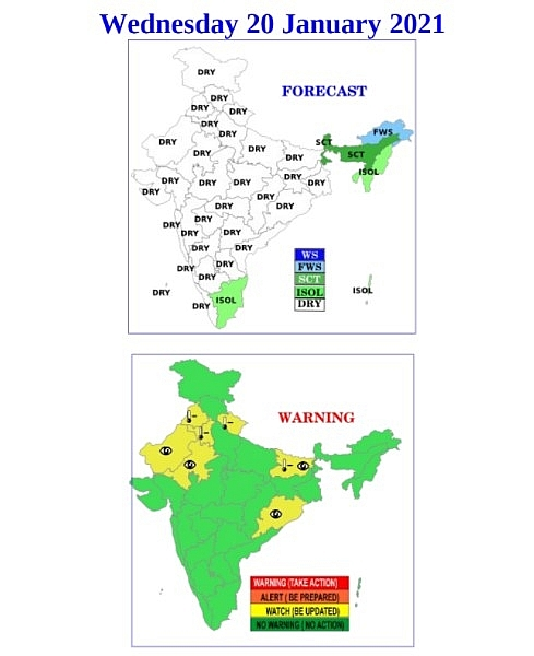 India daily weather forecast latest, january 20: clear and dry conditions to cover most of regions