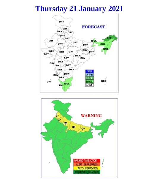 India daily weather forecast latest, January 21: Severe cold day conditions prevail in isolated pockets of west Rajasthan