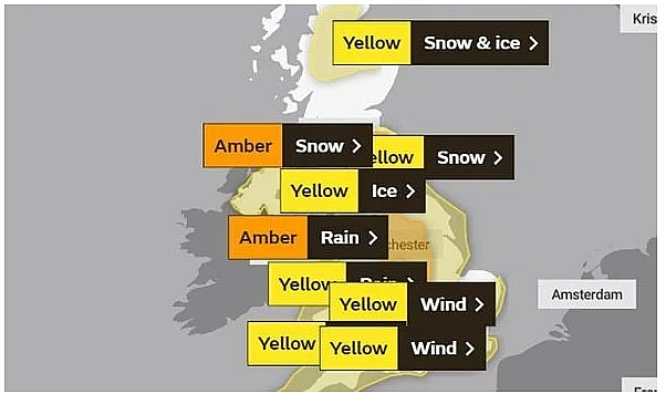 UK and Europe daily weather forecast latest, January 22: Wintry showers in the north and west parts, Storm Christoph sparks dangerous alerts