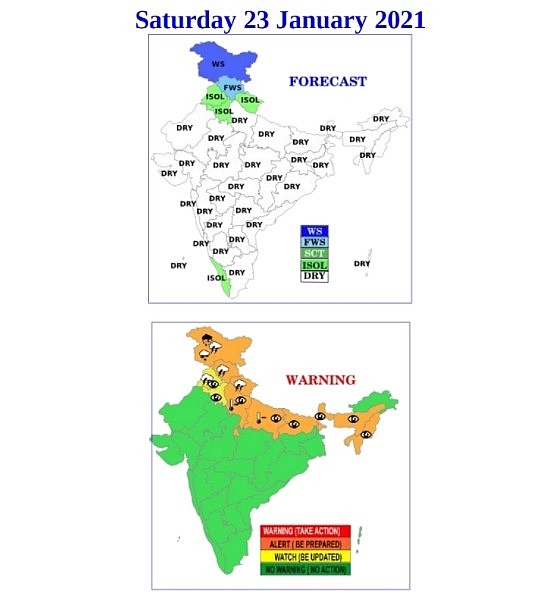 India daily weather forecast latest, January 23: Heavy snow covers northwest Jammu while dense fog prevails Delhi NCR, Uttar Pradesh