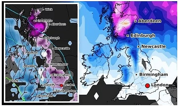 UK and Europe daily weather forecast latest, January 28: Low pressure brings freezing air and snowy conditions to northern parts of the UK