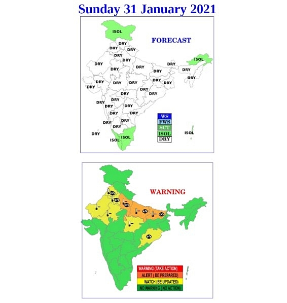 India daily weather forecast latest, January 31: Cold wave to persist parts of Northwestern India for days