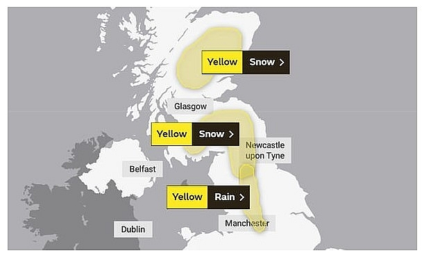 UK and Europe daily weather forecast latest, February 3: Rain and snow warnings issued for parts of the UK