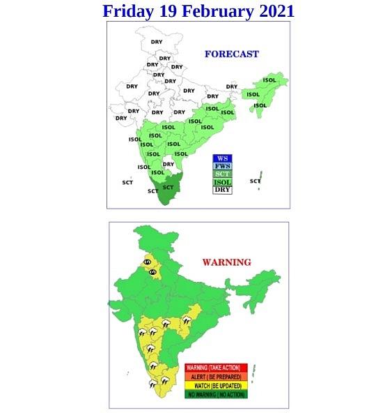 India daily weather forecast latest, February 19: Scattered rains and thunderstorms to cover Maharashtra, Telangana, Kerala
