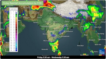 india daily weather forecast latest february 21 scattered to fairly widespread rainfall snowfall with isolated thunderstorms lightning and hail