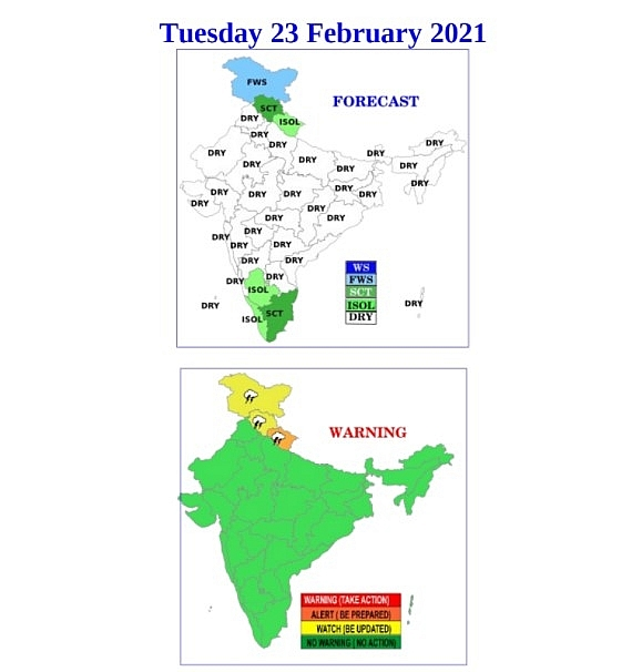 India daily weather forecast latest, February 23: Scattered to fairly widespread snow or rain with thunderstorms over Himachal Pradesh