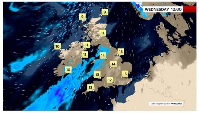 UK and Europe daily weather forecast latest, February 24: Further rain with showers continue across the far northwest in the UK