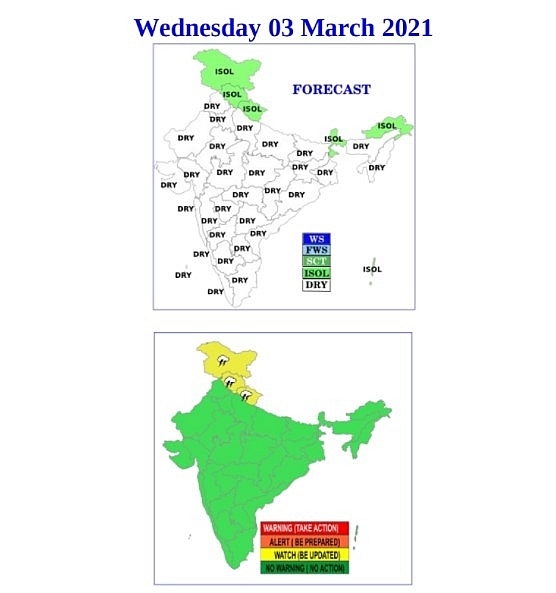 India daily weather forecast latest, March 1: Many parts of the western Himalayan region to receive light rain and snow