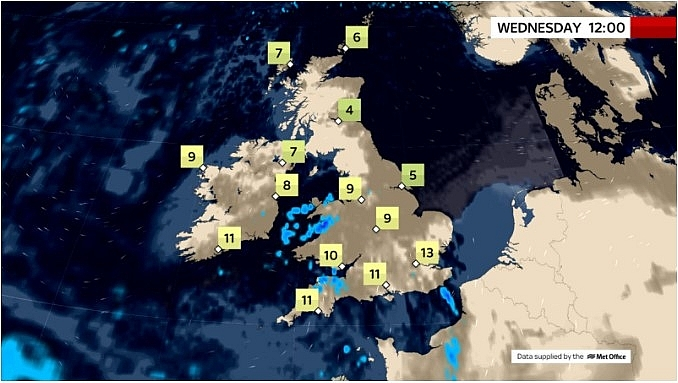 UK and Europe daily weather forecast latest, March 3: Fairly cloudy with a scattering of showers in Southern Britain